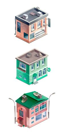 Isometric textured houses