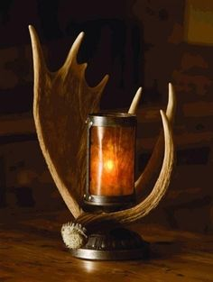 Moose Antler Lamp by Todd How is that for a centerpiece!
