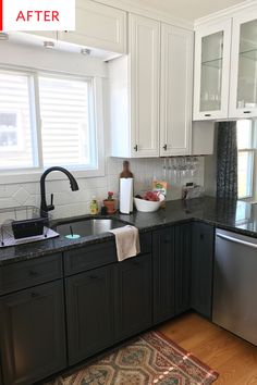 Black Granite Countertops - Kitchen Before After | Apartment Therapy