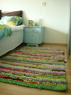 Crochet Rag Rug from old bed sheets