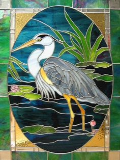 heron egret water lake scenery: