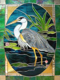 heron egret water lake scenery:
