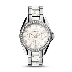 Our shimmering Riley watch adds sparkle to the season. Brilliant stainless steel and a smooth reconstituted stone dial will ensure that you stand out. This Riley watch also features a multifunction movement on a stainless steel bracelet.
