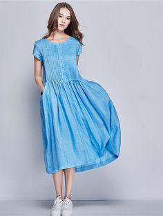 long linen dress with big pockets, linen evening dress in blue, cocktail dress, pleated dress