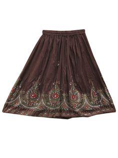 Sequin Skirt Rayon Skirt Brown Hand Work Gypsy Hippie Skirts