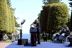 US President Barack Obama speaks during a joint French-American D-Day commemoration ceremony at the Normandy American Cemetery and Memorial ...