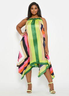 Plus Size Striped Chain Neck Hanky Hem Dress Big Girl Fashion, Fashion Line, Plus Size Summer Dresses, Plus Size Outfits, Striped Maxi Dresses, Party Fashion, Trendy Plus Size, Leggings Fashion, Plus Size Fashion