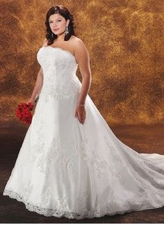 a lineprincess strapless chapel train satin tulle wedding dress with lace beading