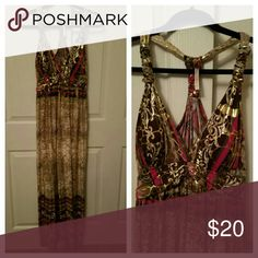 Miss California maxi fress 1X Gold foil throught out, stretchy, brown, tan, pink. Worn once. Dress it up or casual. Dresses Maxi