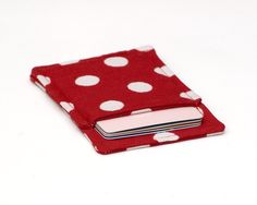 New to Chockrosa on Etsy: Red polka dot Slim card wallet - Red White Polka Dots - Credit card wallet - Credit card case - Business card case - Front pocket wallet