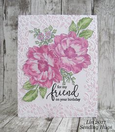 Our theme this week Wednesday challenge is Fantastic Florals, and the DT are playing with goodies. Altenew Cards, Stampin Up Cards, Flower Stamp, Flower Cards, Handmade Birthday Cards, Greeting Cards Handmade, Scrapbooking, Scrapbook Layouts, Embossed Cards