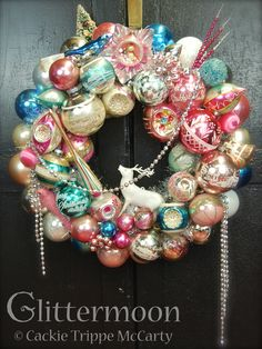 """Please go to the Country Magazine Atlanta Dealer's Favorites Board and """"LIKE"""" this to give me a chance to win a meeting with Sarah Gary Miller, editor-inchief! """"Pink Moon"""" Vintage Christmas wreath from Glittermoon Cards"""