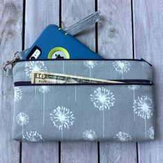 Grey & White Dandelion Wristlet Wallet; Zipper Pouch; iPhone 6 Plus/Samsung Galaxy Cell Phone Wristlet; Cell Phone Purse; Clutch by ChristyRaynDesigns on Etsy