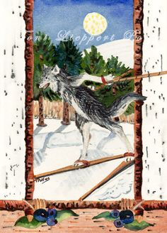 Cross Country Skiing Wolf - 5'' x 7'' matted print of original watercolor painting by Toni Lieppert Polfus