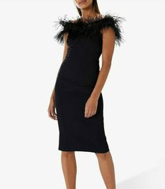 Coast Black Feather Dress Midi Holly Wedding Cocktail Pencil Party 8 36 #Coast #PencilDress #PartyCocktail