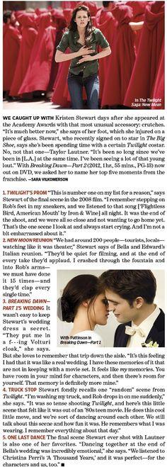 'The Twilight Saga' - 'Entertainment Weekly' Kristen Stewart's Five Favorite 'Twilight Saga' Moments.