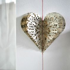 Layered Lace Heart Stitched Gift Card Vintage Music. $8.00, via Etsy.