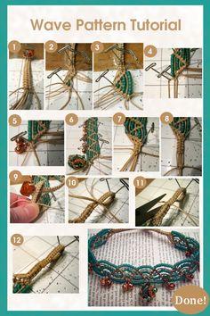 macrame wave pattern bracelet