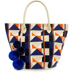 Sophie Anderson's Celio Tote exudes a global aesthetic for the sunny days ahead. Crochet bag features a multicolored ethnic inspired pattern, colorful pom poms…