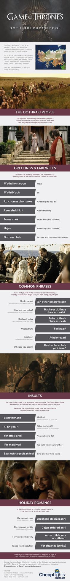 This language guide is a must have for those looking to cross the Dothraki Sea. Game of thrones, Dothraki, infographic Valar Dohaeris, Valar Morghulis, Winter Is Here, Winter Is Coming, Fictional Languages, George Rr Martin, Game Of Thrones Fans, Mother Of Dragons, Game Of Thrones