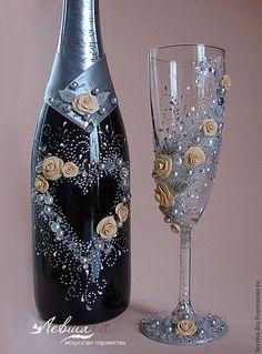 """Купить Свадебное шампанское """"Серебро"""" - серебряный, свадебное шампанское, свадебные аксессуары, свадебные бокалы"""