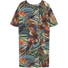 Flowy Print Dress (7155 RSD) ❤ liked on Polyvore featuring dresses, pattern dress, short sleeve dress, mango dresses, short-sleeve dresses and mixed print dress