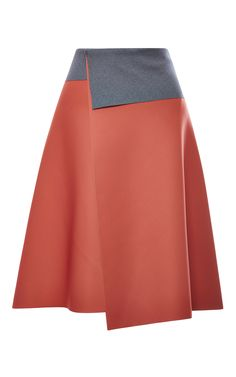Blush Neoprene Skirt With Grey Back by Clover Canyon