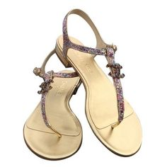 716b02dbf6d2 Pre-Owned Chanel Nwb  895 Glitter Thong Jeweled Cc Sz 38c Gold Sandals  ( 643) ❤ liked on Polyvore featuring shoes