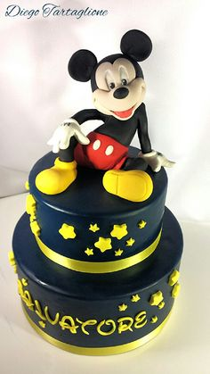 my first Mickey Mouse - Cake by Diego Pastel Mickey, Mickey And Minnie Cake, Bolo Mickey, Mickey Cakes, Minnie Mouse Cake, Mickey Birthday, Birthday Cake Girls, Cupcakes, Cupcake Cakes