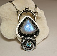 Unique Moonstone Gypsy Necklace, Sterling Silver Crescent Moon Jewelry, Statement Pendant, Witchy Jewels by TazziesCustomJewelry on Etsy https://www.etsy.com/listing/292855233/unique-moonstone-gypsy-necklace-sterling