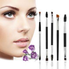 5pcs Eye Makup Brush Set Nylon Hair Pro Eyeshadow Eyeliner Eyebrow Eyelash Lip Brushing Brushes Kits Eye Lash Brush Makeup Tools