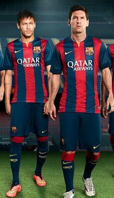 Barcelona 2015 Nike Home (Neymar, Lionel Messi) my two favourite players ♡ Barcelona 2014, Barcelona Shirt, Barcelona Football, Neymar Jr, Lionel Messi, Messi 10, Good Soccer Players, Football Players, Barca Real
