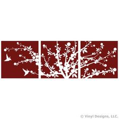 Asian Japanese Cherry Blossom Flower Tree and 2 Hummingbirds Vinyl Wall Decal Sticker Art, Home Decor *** Click image to review more details. (This is an affiliate link and I receive a commission for the sales)