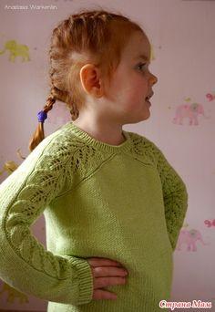 "Пуловер с ажурными рукавами по мотивам "" Bloomsbury"" - Вязание - Страна Мам Knitting Stitches, Knitting Patterns, Big Hugs, Bloomsbury, Knit Crochet, Pullover, Children, Sweaters, Color"