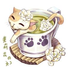 Cats enjoying tea baths.