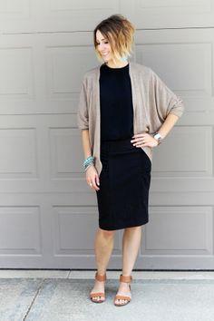 Kimono, black dress and turquoise accessories
