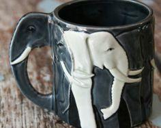 Vintage Elephant Coffee Mug 3 Dimensional Gray Relief Trunk Handle Tom Taylor Otagiri Tusks
