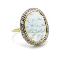 Aquamarine diamond 18 karat gold #dreamring