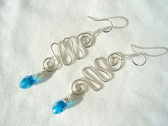Stunning!!  Swarovski Earrings Silver Wire Wrapped Aquamarine by tigger2day, $16.95