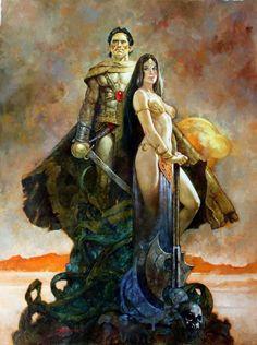 John Carter and Deja Thoris by Sanjulián *