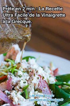 J'adore la vinaigrette à la grecque faite maison. Ce que j'apprécie le plus, c'est à quel point c'est facile ! En moins de 2 min, vous avez une sauce de salade savoureuse et aromatisée toute prête.  Découvrez l'astuce ici : http://www.comment-economiser.fr/recette-facile-sauce-vinaigrette-gecque-prete-2-minutes.html?utm_content=bufferf2d46&utm_medium=social&utm_source=pinterest.com&utm_campaign=buffer