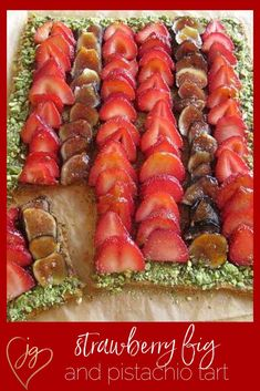 Check out this beautiful tart that will truly wow your guests. It is so simple but looks very complicated and the pistachios are truly the star. I use frozen puff pastry, which always tastes delicious and is so easy to work with. The trick is to roll out the dough until very thin. Poke with holes and cook in the oven with a baking sheet inserted on top in order to keep the pastry very flat and crusty. #shabbat #healthy #fruit Kosher Recipes, No Dairy Recipes, Kosher Food, Healthy Recipes, Breakfast Recipes, Dinner Recipes, Frozen Puff Pastry, Israeli Food, Jewish Recipes