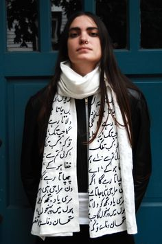 ALANGOO - Hand Embroidered Persian Calligraphy Scarf