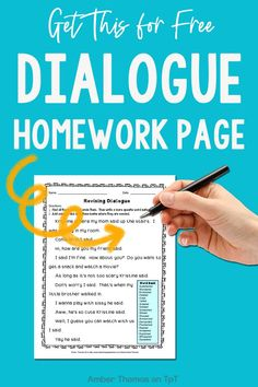 Revising Dialogue Homework or Printable Distance Learning Page Expository Writing, Narrative Writing, Writing Lessons, Writing Skills, Fourth Grade Writing, Homework Sheet, Mentor Texts, Writer Workshop, Teacher Hacks