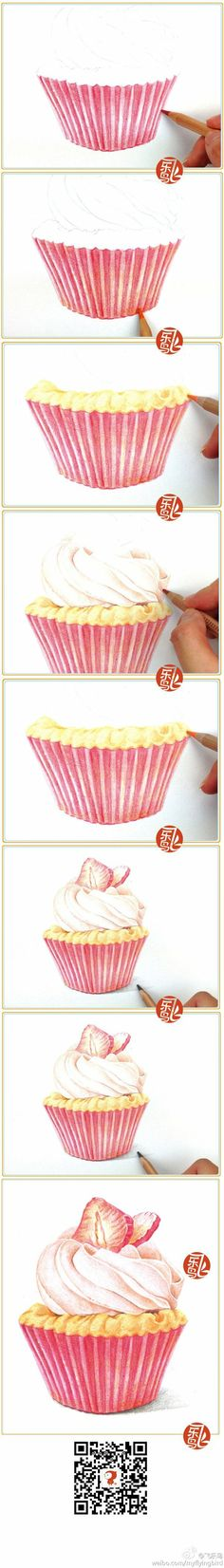 Drawing a cupcake in colored pencil.