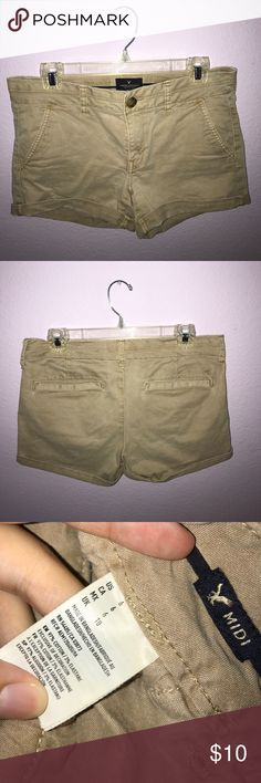 American Eagle Khaki Stretch Midi Shorts American Eagle khaki shorts, size 6. Gently used, in great condition! Make me a reasonable offer :) American Eagle Outfitters Shorts
