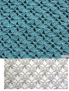 Crochet Stitches Chart, Crochet Motif Patterns, Granny Square Crochet Pattern, Crochet Diagram, Crochet Squares, Crochet Designs, Knitting Patterns, Crochet Patron, Crochet Lace
