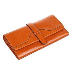 Texbo Womens Genuine Waxy Leather Long Wallet Fit Smartphone Clutch Yellow Brown *** Check out this great product.