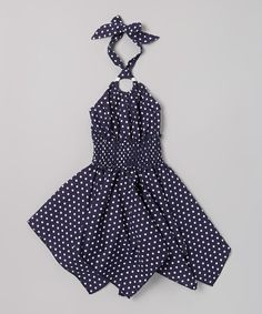 Look what I found on #zulily! Lele for Kids Navy Polka Dot Handkerchief Halter Dress - Toddler & Girls by Lele for Kids #zulilyfinds