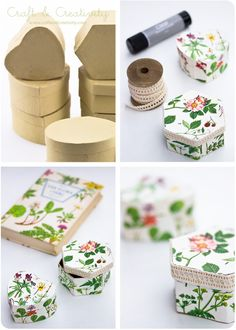 DIY: cardboard gift boxes covered with book pages. Boxes can be found at most craft stores